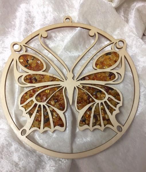Fensterbild mit Naturbernstein - Schmetterling