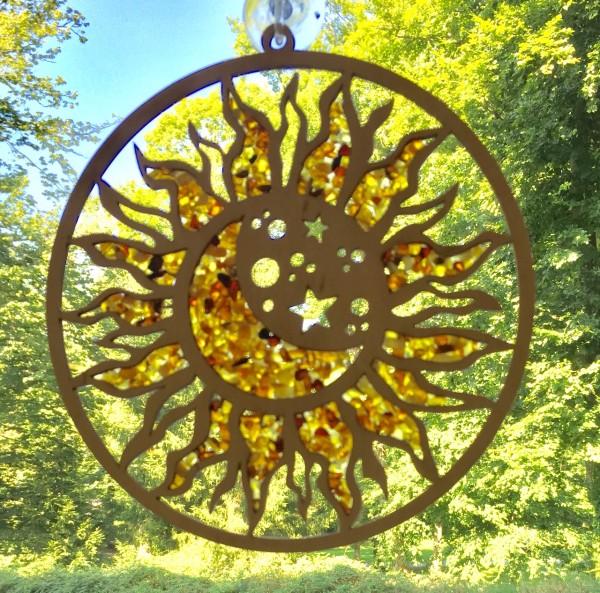 Fensterbild mit Naturbernstein - Sonne, Mond und Sterne